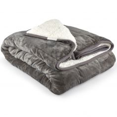 Plain Weighted Sherpa Throw - Grey