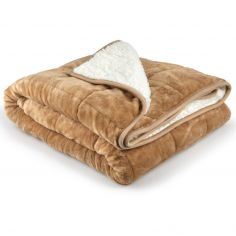 Plain Weighted Sherpa Blanket - Taupe