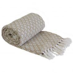Casablanca Scandi Woven Recycled Cotton Throw - Taupe