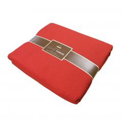 100% Cotton Honeycomb Woven Blanket Throw - Red
