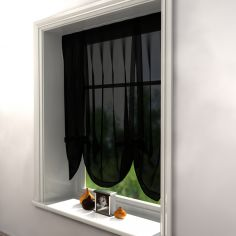 Black Voile Tie Up Blind