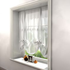 White Voile Tie Up Blind