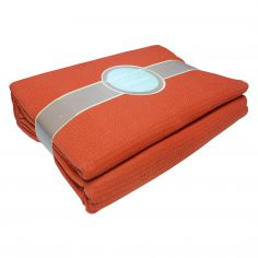 100% Cotton Honeycomb Woven Blanket Throw - Terracotta