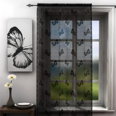 Butterfly Design Black Lace Voile Curtain Panel