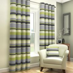 Green, Natural & Grey Striped Lined Eyelet Curtains