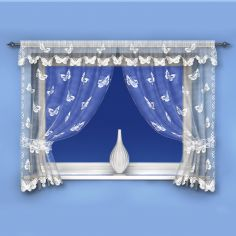 Butterfly Pattern White Net Curtain Window Set
