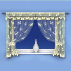 Butterfly Pattern Cream Net Curtain Window Set