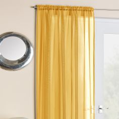 Plain Slot Top Voile Curtain Panel - Gold