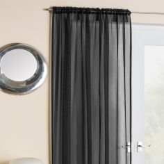 Slot Top Plain Black Voile Curtain Panel
