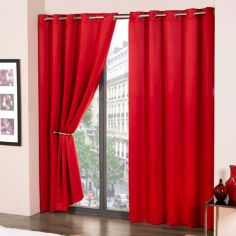 Cali Eyelet Ring Top Thermal Blackout Curtains - Red