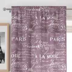 Paris Script Purple Voile Curtain Panel