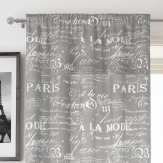 Paris Script Grey Voile Curtain Panel