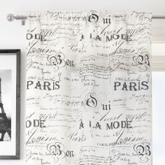 Paris Script White Voile Curtain Panel