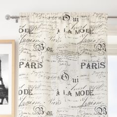 Paris Script Cream Voile Curtain Panel
