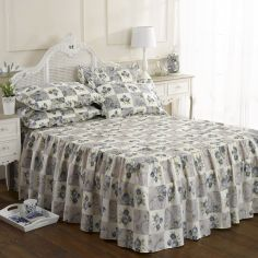 Quilted Blue Patchwork Floral Fitted Bedspread Set