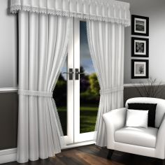 Luxury Ready Made Lined Lace Embroidered Voile Curtains - White