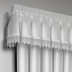 Luxury Ready Made Lined Lace Pelmet Valance - White