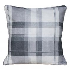 Birkdale Tartan Check  Cushion Cover - Charcoal Silver Grey Cream