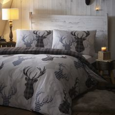 Stag Reversible Tartan Grey Duvet Cover Set