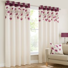 Lily Floral Ring Top Eyelet Fully Lined Curtains - Purple