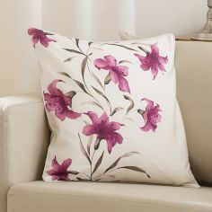 Lily Cushion Cover Purple Cream 45cm x 45cm