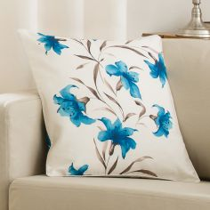 Lily Cushion Cover Teal Cream 45cm x 45cm