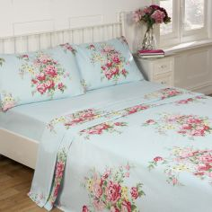 Kate Floral Blue 100% Cotton Thermal Flannelette Sheet Set