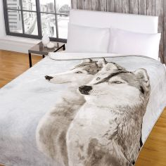 Wolf Husky Mink Supersoft Blanket Fleece Throw