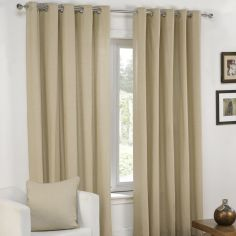 Plain Belmont Natural Cream Eyelet Ring Top Fully Lined Curtains