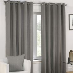 Plain Belmont Charcoal Grey Silver Eyelet Ring Top Fully Lined Curtains