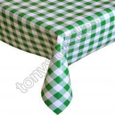 Gingham Check Green Plastic Tablecloth Wipe Clean Pvc Vinyl