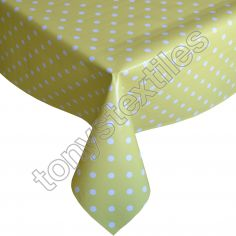 Polkadot Yellow and White Plastic Tablecloth Wipe Clean Pvc Vinyl