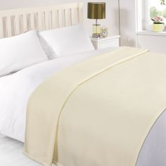 Plain Large Supersoft Fleece Blanket Throw - Cream