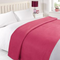 Plain Large Supersoft Fleece Blanket Throw - Fuchsia Pink