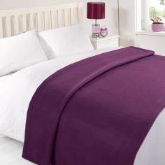 Plain Large Supersoft Fleece Blanket Throw - Purple