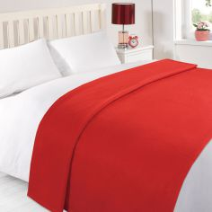 Super Soft Plain Fleece Blanket Throw - Red