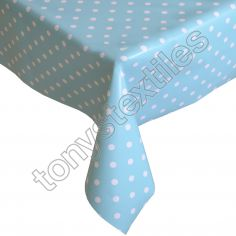 Polkadot Blue and White Plastic Tablecloth Wipe Clean Pvc Vinyl