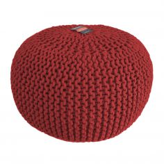 Large Knitted Pouffe Footstool Foot Cushion Rest - Red