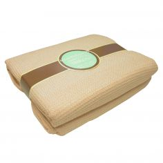 100% Cotton Honeycomb Woven Blanket Throw - Beige
