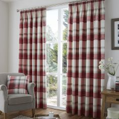 Birkdale Check Lined Tape Top Curtains - Red & Cream