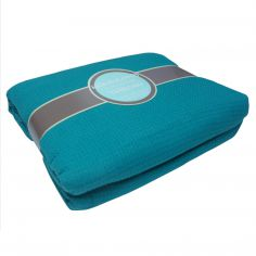 100% Cotton Honeycomb Woven Blanket Throw - Teal