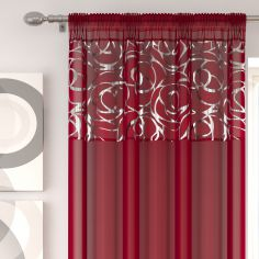 Skye Slot Top Voile Curtain Panel - Red