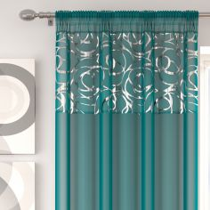 Skye Slot Top Voile Curtain Panel - Teal