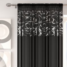 Skye Slot Top Voile Curtain Panel - Black