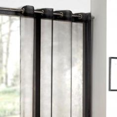 Plain Black Ring Top Voile Curtain Panel