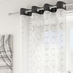 Silver Circles Spiro Ring Top Voile Curtain Panel - Black