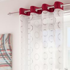 Silver Circles Spiro Ring Top Voile Curtain Panel - Red