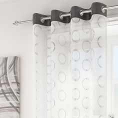 Silver Circles Spiro Ring Top Voile Curtain Panel - Grey