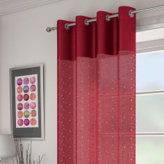 Sparkle Glitz Ring Top Voile Curtain Panel - Red