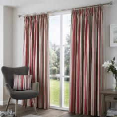 Sandringham Striped Fully Lined Tape Top Curtains - Red